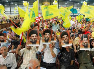 Hezbollah supporters in a southern district of Beirut (photo: AP)