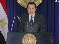Egypt's President Hosni Mubarak during a televised address to the nation (photo: AP)