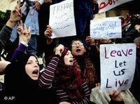 Egyptian women in Alexandria demonstrating against Mubarak (photo: AP)