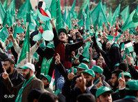 Hamas supporters in Gaza City (photo: AP)