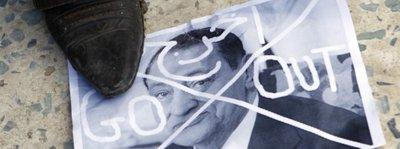Anti-government placard on the ground in Cairo (photo: AP)