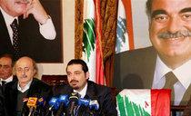 Walid Jumblatt (left) and Saad Hariri during a press conference in Beirut (photo: AP)