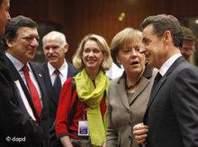 Barroso, Merkel and Sarkozy at the EU summit in Brussels on March 11, 2011 (photo: dapd)