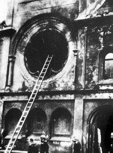 Destroyed synagogue on 'Reichskristallnacht' in Berlin, 9 November 1938 (photo: AP)