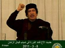 Muammar al-Gaddafi on Libyan national TV (photo: dapd)