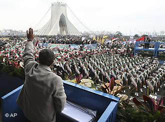 The Iranian president Mahmu Ahmadinedjad addresses the people at the anniversary of the 179 revolution (photo: AP)