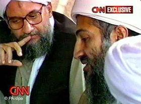 Zawahiri and Bin Laden, thinking (photo: PA/dpa)