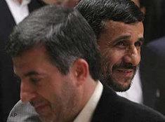 Esfandiar Rahim Mashaei and Mahmoud Ahmadinejad (photo: AP)