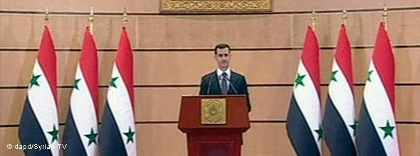 Assad during the televised adress of 20 June 2011 (photo:dapd)