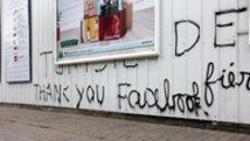 Street graffiti in Tunis, reading 'Thank you Facebook' (photo: Thomas Rassloff/DW)