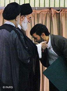 President Ahmadinejad kissing Ayatollah Khamenei's hand (photo: FARS)