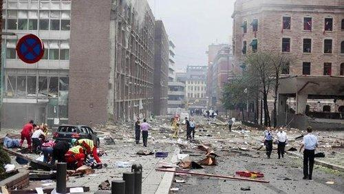 The aftermath of the bombing in the government district of Oslo (photo: dapd)