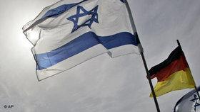 Israeli and German national flags at the Tel Aviv airport during Angela Merkel's visit in Israel (photo: AP)