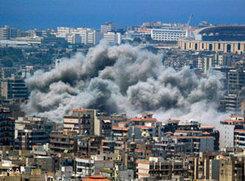 Israeli air strike on Haret Hreik, a district in Beirut (photo: AP)