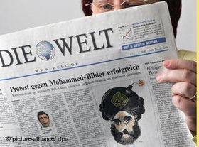 Mohammed-Karikaturen in der Zeitung; Foto: dpa