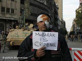 Anti-Mubarak protester in Cairo, Egypt