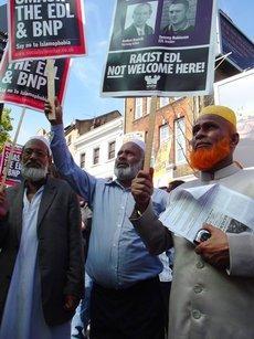 Three anti-EDL protestors (photo: Joseph Burke)