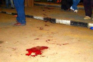 A puddle of blood on the street after the clashes on Sunday (photo: Joseph Mayton)