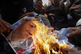 Protestors burn a poster of Bashar Al-Assad (photo: dapd)