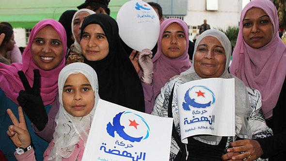 Ennahda supprters after the election victory in Tunis (photo: DW)