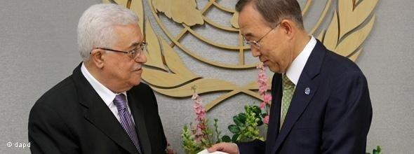 Palestinian President Mahmoud Abbas and UN Secretary-General Ban Ki-moon during the 66th session of the General Assembly of the United Nations (photo: dapd)