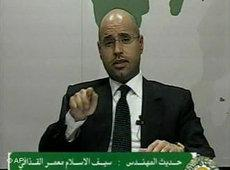 Saif al-Islam Gaddafi addressing the nation on television on 21 February 2011 (photo: AP Photo/Libyan State Television)