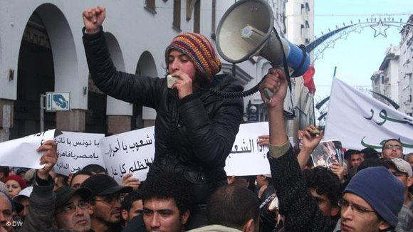 A Moroccan woman during a protest on 20 February 2011 (photo: DW)