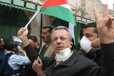 Mustafa Barghouti at a non-violent protest near Hebron (photo: Muhannad Hamed)