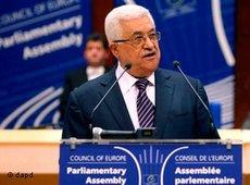Palestinian President Mahmoud Abbas delivers a statement to the parliamentary assembly of the Council of Europe on 6 October 2011 (photo: dapd)