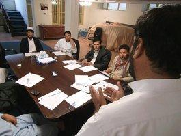 Afghan journalists in Kabul during an editorial meeting (photo: Martin Gerner)
