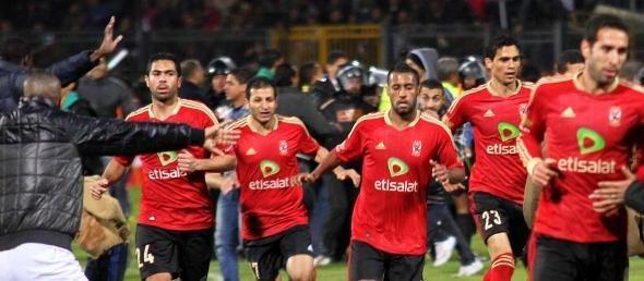 Al Ahly players in the stadium of Port Said (photo: EPA, dpa)