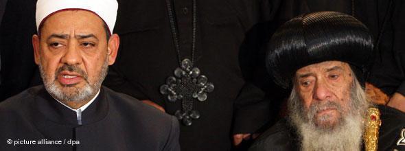 Ahmed al-Tayeb of Al-Azhar University (left) and Pope Shenouda III (photo: EPA/KHALED El FIQI)