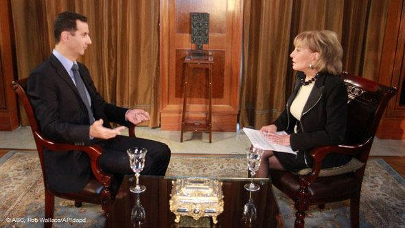Syrian President Bashar al-Assad speaks with Barbara Walters of ABC (photo: ABC, Rob Wallace/Ap/dapd)