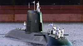 An Israeli submarine in the port of Haifa (photo: dpa)