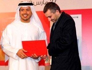 Rabee Jaber being awarded the International Prize for Arabic Fiction (IPAF) by Sheikh Sultan Bin Tahnoon Al Nahyan, managing director of the Emirates Foundation (photo: Susannah Tarbush)