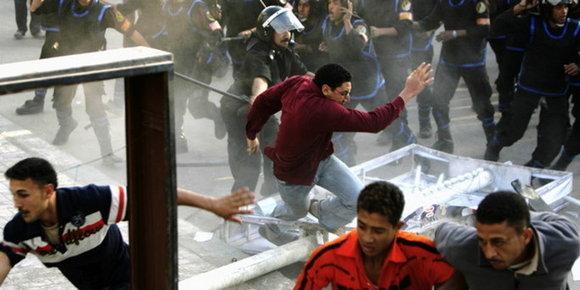 Demonstration gegen Mubarak vom April 2008  in Mahalla; Foto: dapd
