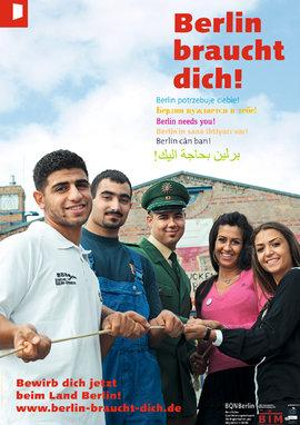 "Campaign poster of ""Berlin braucht dich!"" showing young migrants in various job uniforms (photo: www.berlin-braucht-dich.de)"