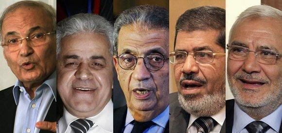 from left to right: Ahmed Shafik, Hamdeen Sabahi, Amr Moussa, Mohamed Mursi, Abdel Moneim Abol Fotouh (photo: Reuters)