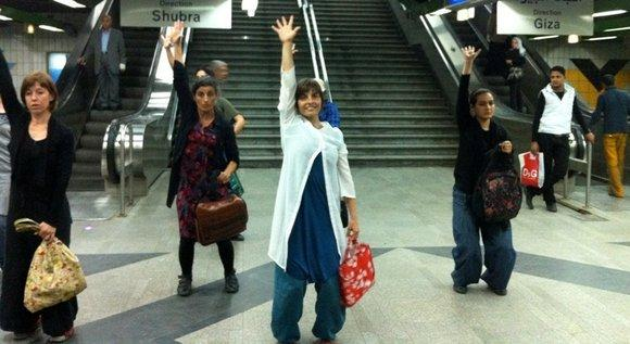 Dancers of the ''Stop and Dance'' project in a Cairo subway station (photo: Amira El Ahl)
