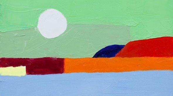Oil painting on canvas by Etel Adnan (photo: Anders Sune Berg)