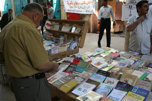 Book stand on Mutanabbi Street in Baghdad (photo: Munaf al-Saidy)