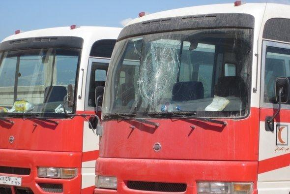 Bullet holes in the windscreen of a Red Crescent vehicle (photo: Orienthelfer e.V.)