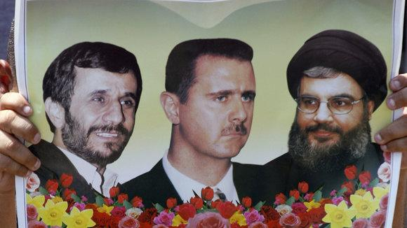 Left to right: Mahmoud Ahmadinejad, Bashar al-Assad and Hassan Nasrallah (photo: AP)