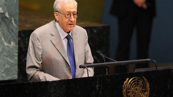 The Algerian top UN diplomat and Special Envoyto Syria  Lakhdar Brahimi, speaking at the UN General Assembly (photo: picture-alliance/dpa)