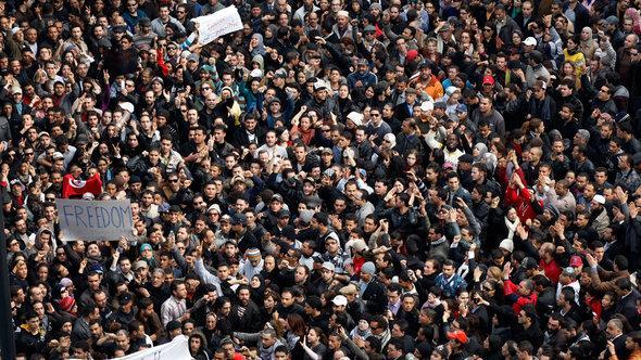 Protests against President Ben Ali in Tunisia in January 2011 (photo: AP Photo/Christophe Ena)