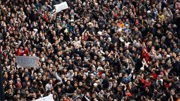 Protests against President Ben Ali in Tunisia in January 2011 (photo: AP Photo/Christophe Ena)