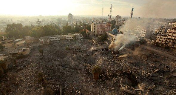 A general view of destroyed government offices is seen after what witnesses said was an Israeli air strike in Gaza City November 21, 2012