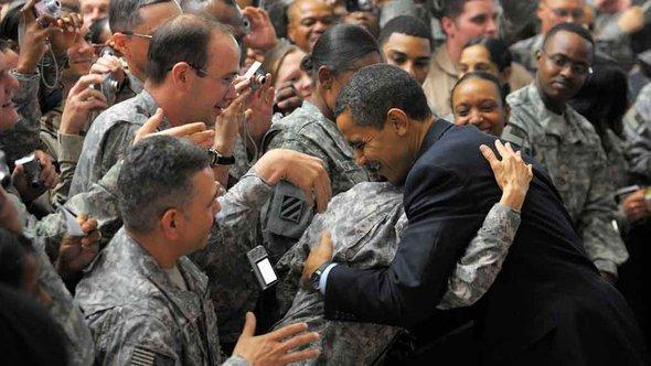 Obama visits Camp Victory, near Baghdad, in April 2009 (photo: AFP)