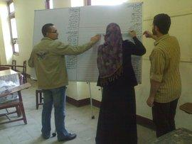 Members of the election commission creates slates at Ain Shams University (photo: Fabian Schmidmeier)