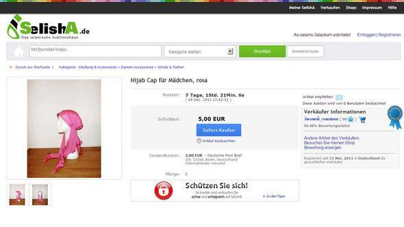 A screenshot from Selisha.de